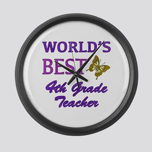 World's Best 4th Grade Teacher Large Wall Clock